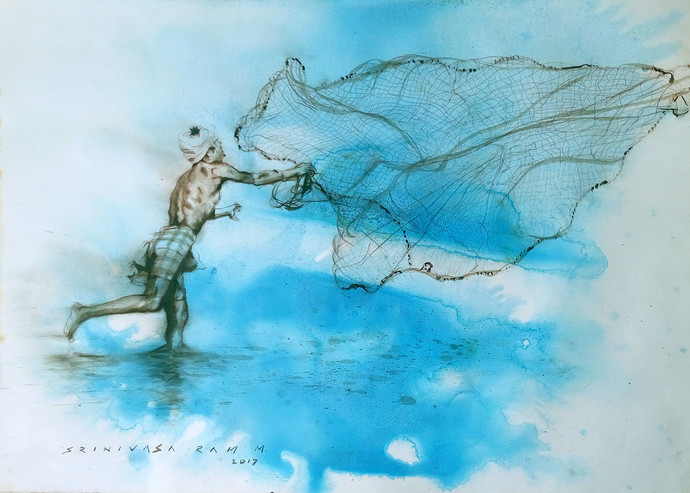 Fisherman2 by Sreenivasa Ram Makineedi, Expressionism Painting, Acrylic & Ink on Paper, Cyan color
