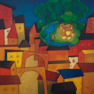 Finding Heaven by Dipak Asole, Expressionism Painting, Acrylic on Canvas, Brown color