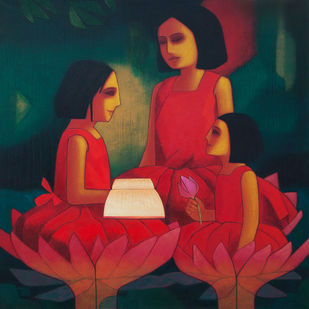 Three Sisters by Dipak Asole, Expressionism Painting, Acrylic on Canvas, Red color