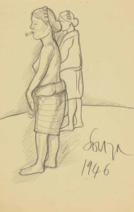 untitled by F N Souza, Illustration Drawing, Pencil on Paper, Beige color