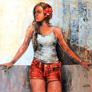 Modern Art (hostel life-waiting for love) by gurdish pannu, Expressionism Painting, Acrylic on Canvas, Brown color