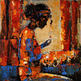 Modern art (Hostel life) by gurdish pannu, Expressionism Painting, Acrylic on Canvas, Brown color