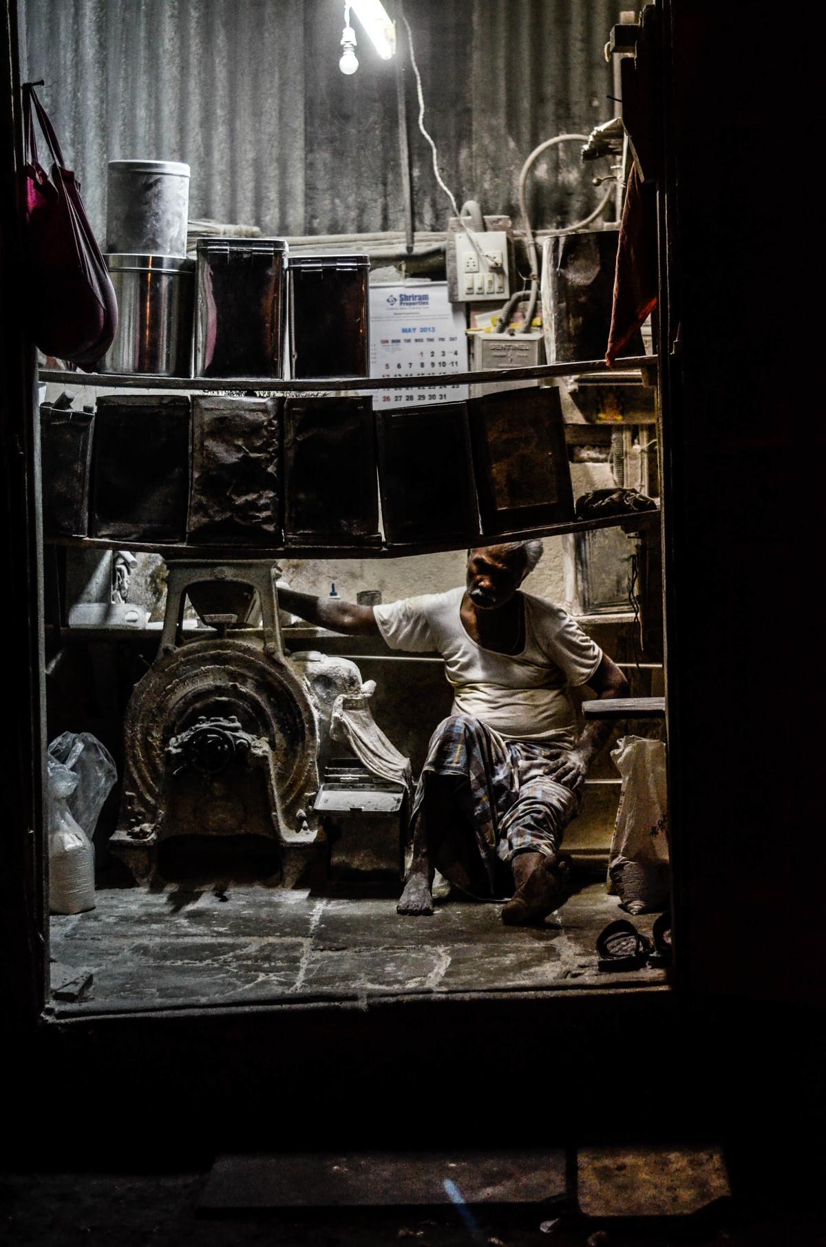 Flour mill Mumbai by Uday Tadphale, Image Photography, Digital Print on Canvas, Black color