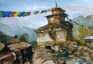 Buddhist Temple by Krishnendu Chatterjee, Impressionism Painting, Watercolor on Paper, Brown color