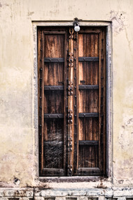 Rajasthani Door by Uday Tadphale, Image Painting, Digital Print on Paper, Beige color