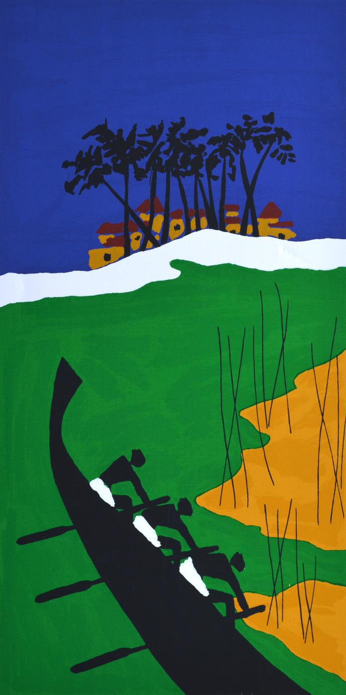 Folklore Kerala - VIII by M F Husain, Impressionism Printmaking, Serigraph on Paper, Green color