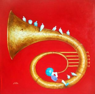 Memories of the childhood xi by shiv kumar soni, Expressionism Painting, Acrylic on Canvas, Red color
