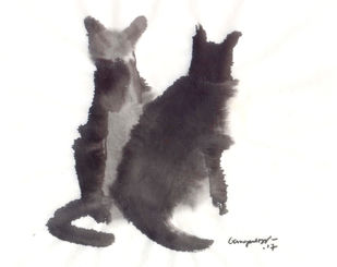 Cat 93 by Ganapathy Subramaniam, Illustration Painting, Ink on Paper, White color