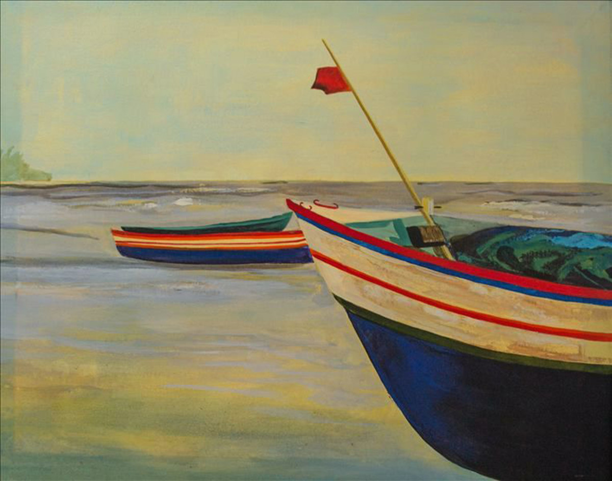 Two Boats by Deepali Gurjal, Impressionism Painting, Acrylic on Canvas, Beige color