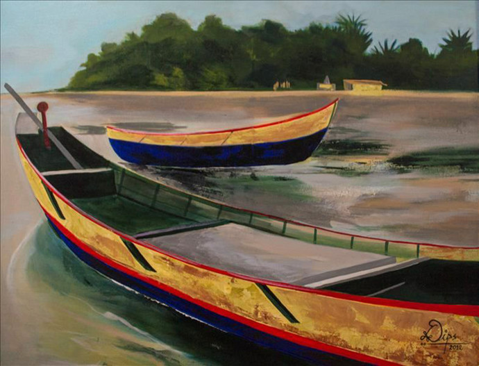 Boats 3 by Deepali Gurjal, Impressionism Painting, Acrylic on Canvas, Brown color