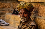 Rajasthani Man by Uday Tadphale, Image Photography, Digital Print on Canvas, Brown color
