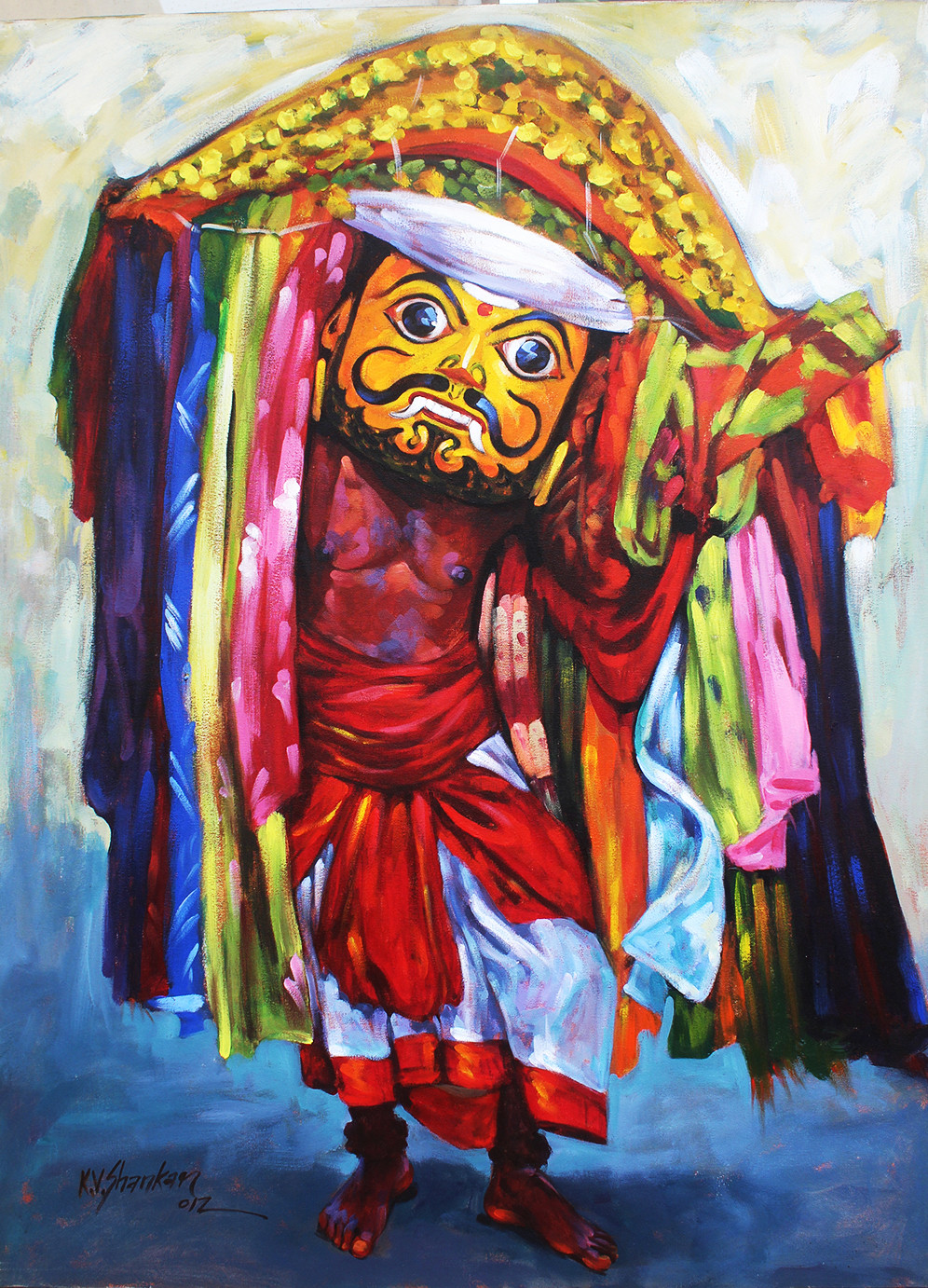 flock dance by K V Shankar, Expressionism Painting, Acrylic on Canvas, Brown color