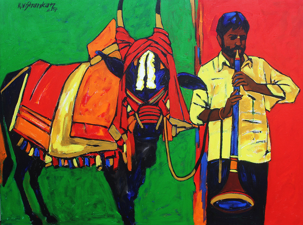 well wisher 6 by K V Shankar, Expressionism Painting, Acrylic on Canvas, Green color
