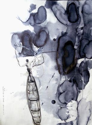 Fisherman3 by Sreenivasa Ram Makineedi, Impressionism Painting, Watercolor on Paper, Gray color