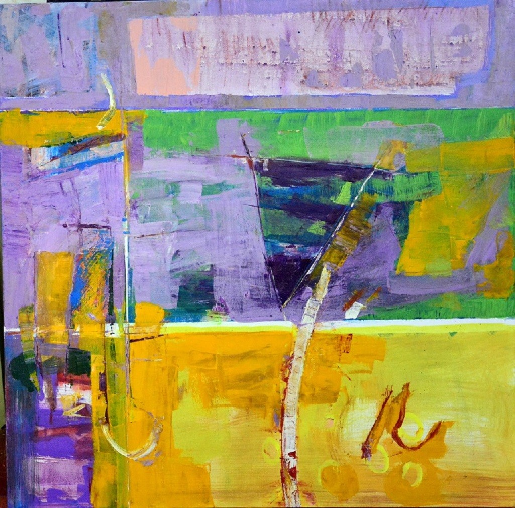 A Touch of Earth Series No 5 by Murali Sivaramakrishnan, Abstract Painting, Oil & Acrylic on Canvas, Green color