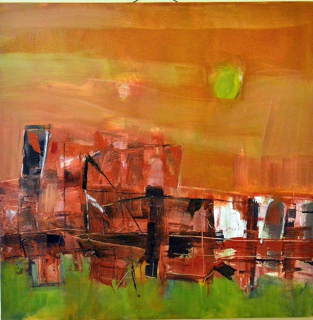 A Touch of Earth series No 13 a by Murali Sivaramakrishnan, Abstract Painting, Oil & Acrylic on Canvas, Brown color