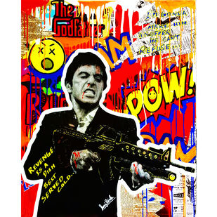AL PACINO GRAFFITI ART by Sanuj Birla, Pop Art Painting, Mixed Media on Canvas, Brown color