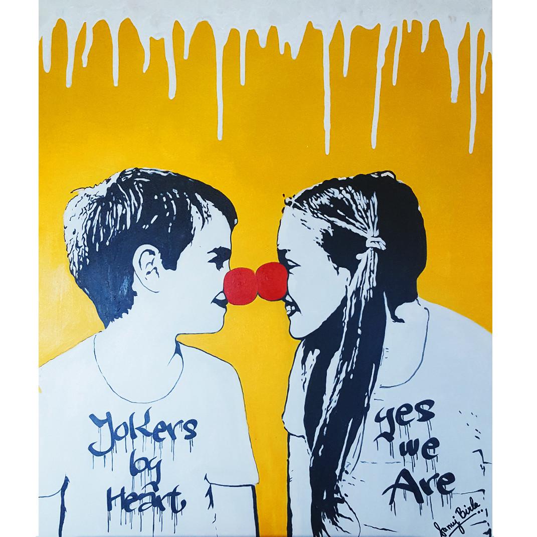 Jokers by Heart by Sanuj Birla, Pop Art Painting, Acrylic on Canvas, Beige color