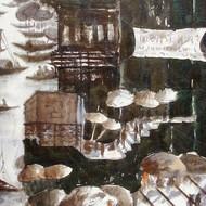 4.title vibrant ghats of varanasi ix size 16''x60''  acrylic on canvas rs 45 000