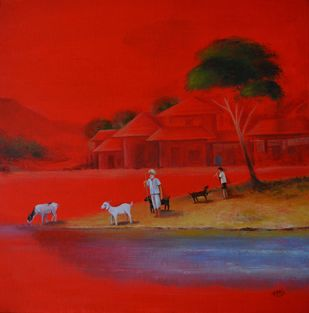 Landscape-23 by Atul Virkar, Impressionism Painting, Mixed Media on Canvas, Red color