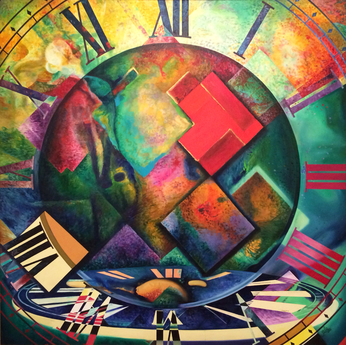 Wheel Of Time by Aarrti Zaveri, Conceptual Painting, Oil on Canvas, Brown color