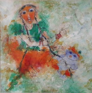 Playing Krishna by Archana Sharma, Expressionism Painting, Acrylic & Graphite on Canvas, Brown color