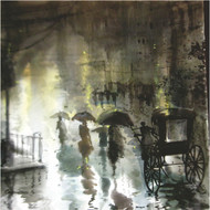 RAINY DAY by RAJENDRA MALAKAR, Impressionism Painting, Watercolor on Paper, Green color