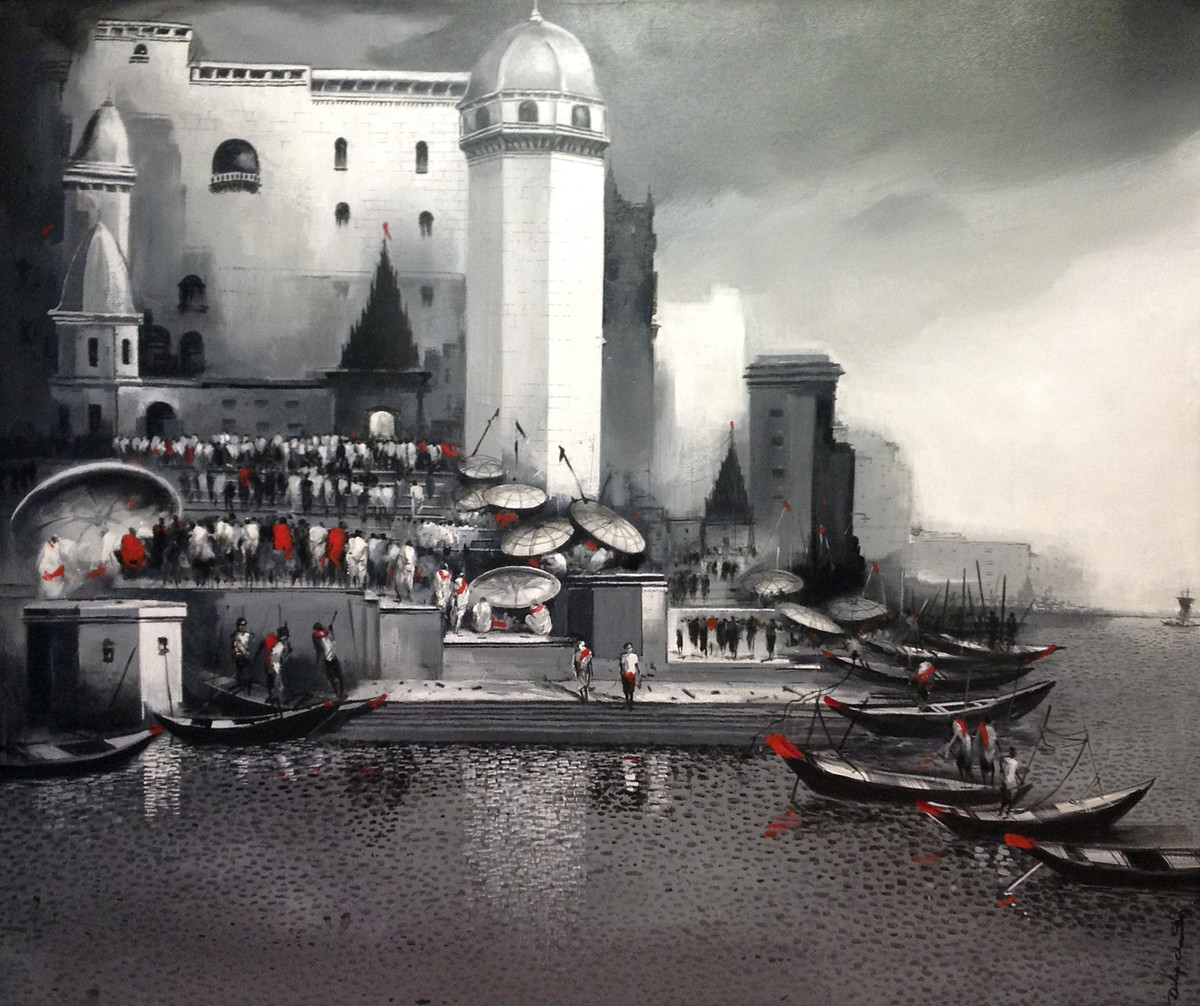 Untitled by Dilip Chaudhury, Impressionism Painting, Acrylic on Canvas, Gray color