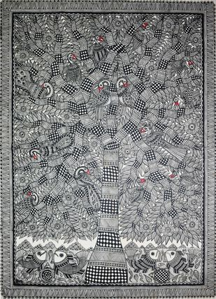 Madhubani painting by Unknown Artist, Tribal Painting, Acrylic on Canvas, Gray color