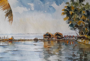 Life along river 8 by Mopasang Valath, Impressionism Painting, Watercolor on Paper, Gray color
