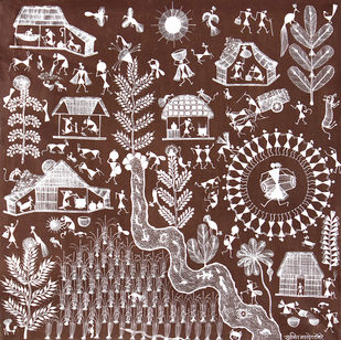 Warli Art by Unknown Artist, Folk Painting, Cow dung on Cloth, Gray color