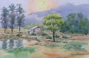 Sunshine in Nihokhu by Shyamal Karmokar, Impressionism Painting, Watercolor on Paper, Beige color