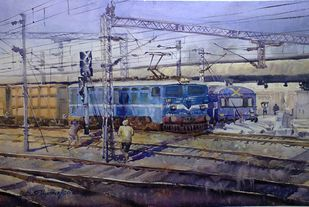 Maalgari by Shyamal Karmokar, Impressionism Painting, Watercolor on Paper, Blue color