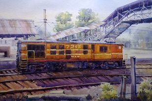Engine by Shyamal Karmokar, Impressionism Painting, Watercolor on Paper, Brown color
