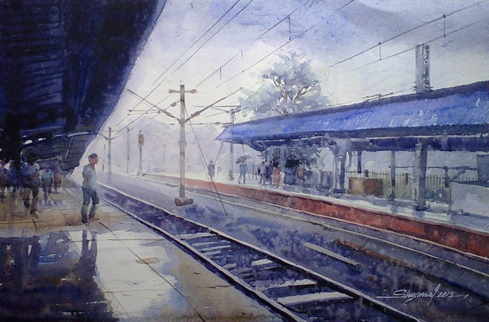 Wet station by Shyamal Karmokar, Impressionism Painting, Watercolor on Paper, Blue color