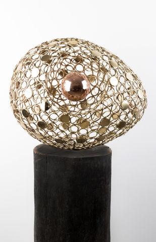 Golden Biosphere by Romicon Revola , Art Deco Sculpture | 3D, Metal, Gray color