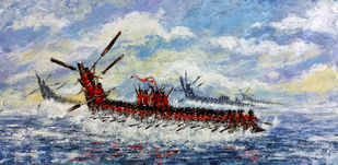 Boat Race by Sunil Linus De, Impressionism Painting, Acrylic on Canvas, Cyan color