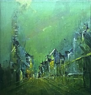 green city by Dnyaneshwar Dhavale , Abstract Painting, Acrylic on Canvas, Green color
