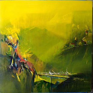 Khandala by Dnyaneshwar Dhavale , Abstract Painting, Acrylic on Canvas, Green color