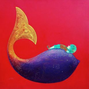 Memories of the childhood xii by shiv kumar soni, Expressionism Painting, Acrylic on Canvas, Red color