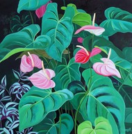 Anthurium by Vishwajyoti Mohrhoff, Photorealism Painting, Acrylic on Canvas, Green color