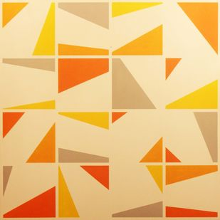 Harmony by A. Sreedharan, Geometrical Painting, Acrylic on Canvas, Beige color