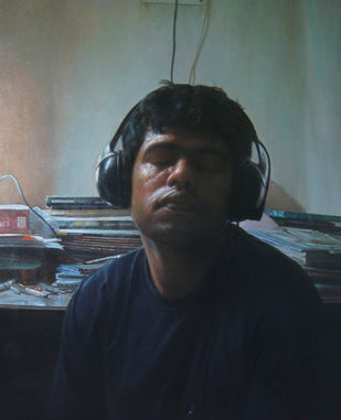 Nocturne by Anupam Halder, Realism Painting, Oil on Canvas, Green color