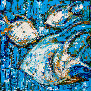 Flow of Dreams-3 by gurdish pannu, Abstract Painting, Acrylic on Canvas, Blue color