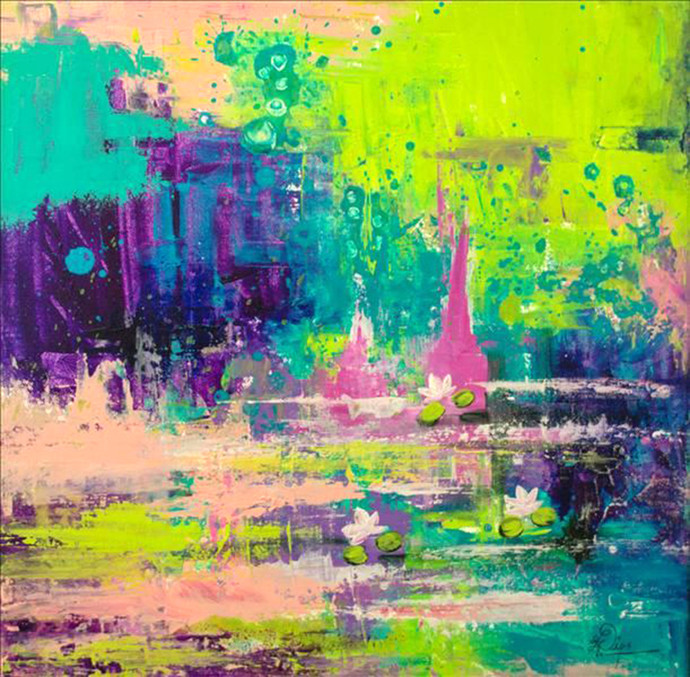 Abstract Nature 1 by Deepali Gurjal, Abstract Painting, Acrylic on Canvas, Green color