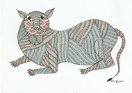 Slinking wild cat by Sunil Shyam , Tribal Drawing, Pen & Ink on Paper,