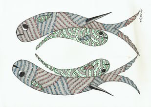 Aquatic by Sunil Shyam , Tribal Drawing, Pen & Ink on Paper,