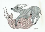 Playful by Sunil Shyam , Folk Drawing, Pen & Ink on Paper,