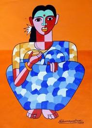 telangana women by Naheem Rustum, Expressionism Painting, Acrylic on Paper, Orange color