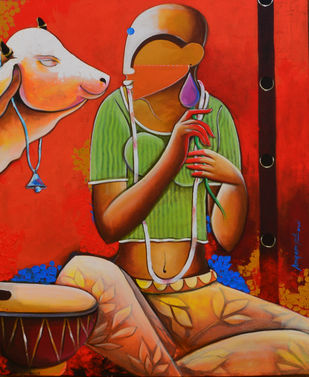 conversation with my self by anupam pal, Decorative Painting, Acrylic on Canvas, Brown color